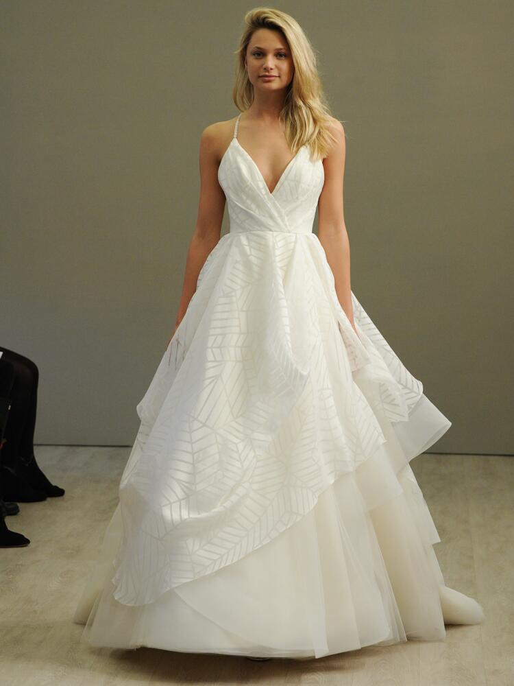 Hayley paige ivory geometric organza ball gown wedding dress draped v