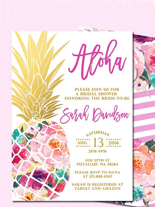 diy pineapple bridal shower printable invitation