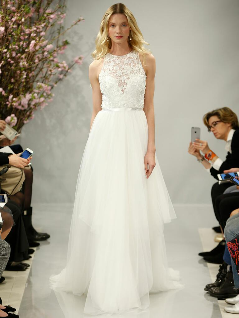 Theia Spring 2018 pearl white 3-d flower and crystal embroidered wedding dress