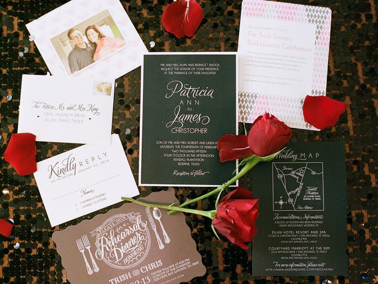 Romantic Valentine's Day wedding invitation suite