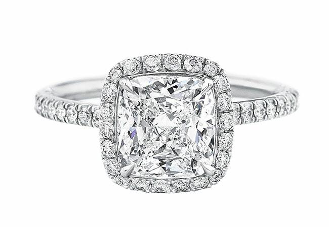 Harry Winston Cushion Cut Micropave Diamond-Engagement Ring