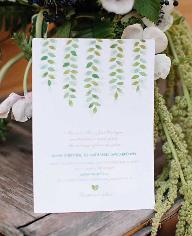 Hanging Leaf Vine Invitations  <img class=