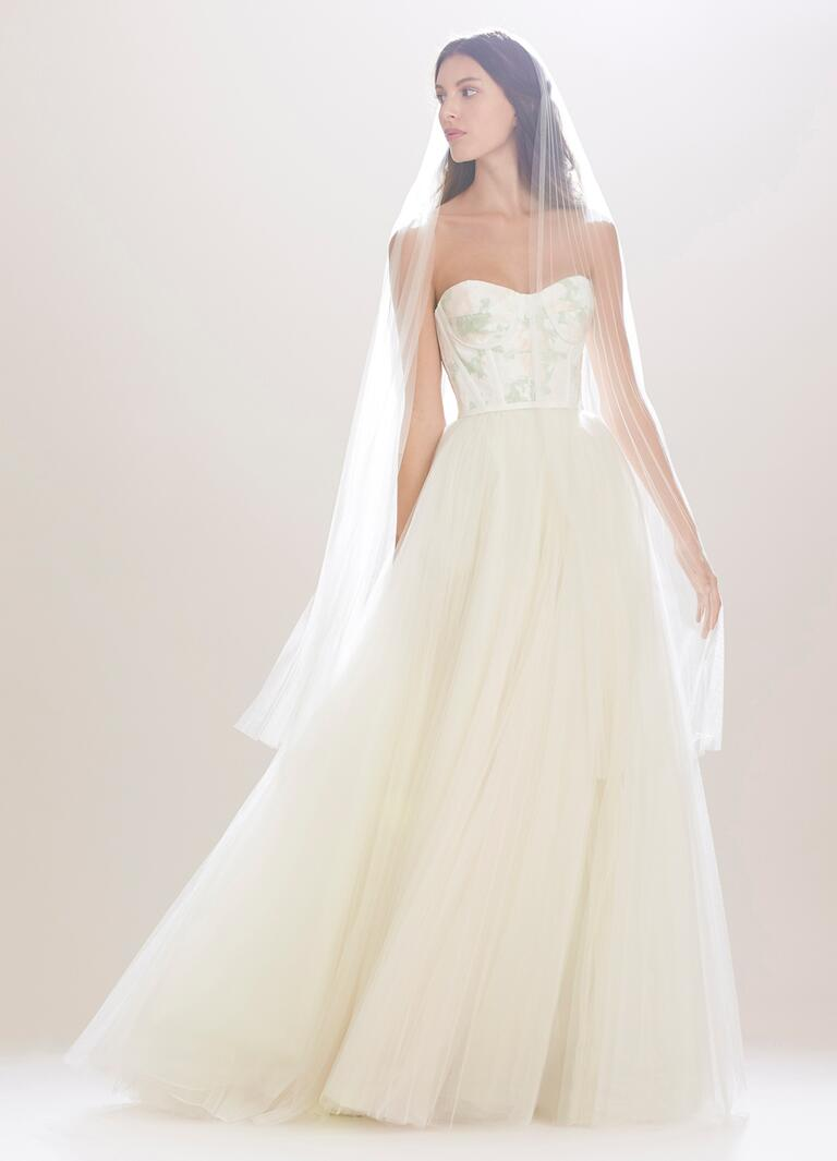 carolina herrera wedding dresses bridal fashion week fall fall wedding dresses Carolina Herrera Fall strapless wedding dress with tulle skirt and fitted bodice