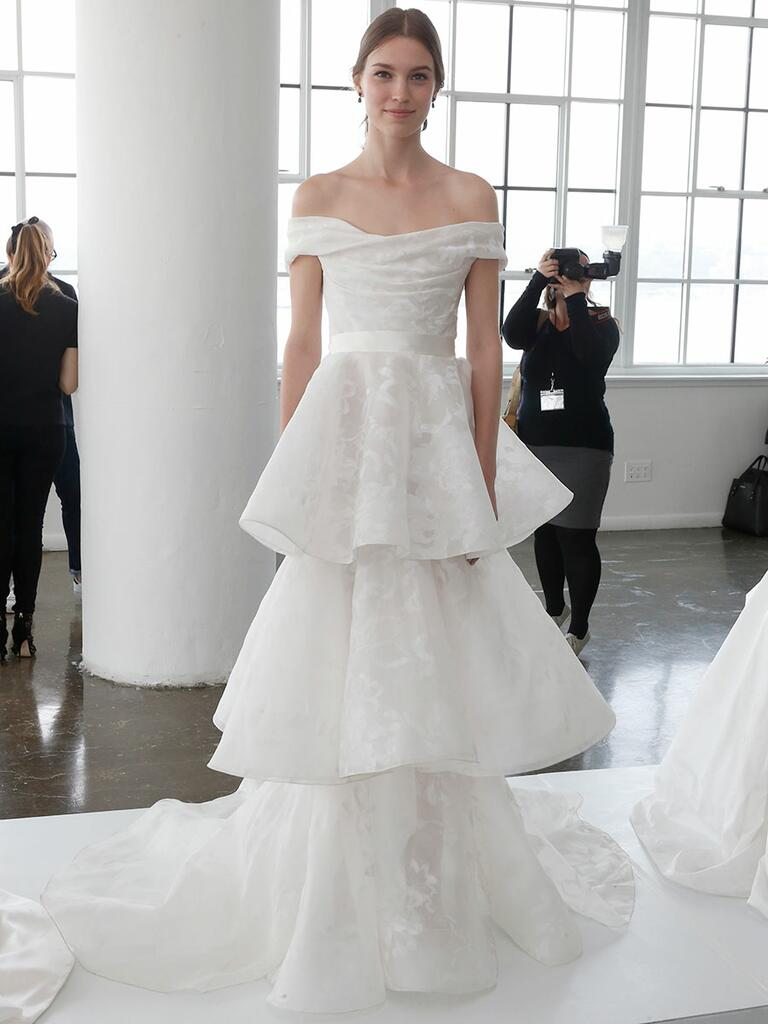 Marchesa Spring 2018 off-the-shoulder wedding gown