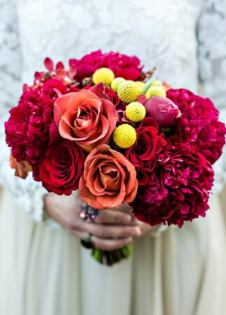 Red and yellow fall bridal bouquet | Kelly Lane | blog.theknot.com