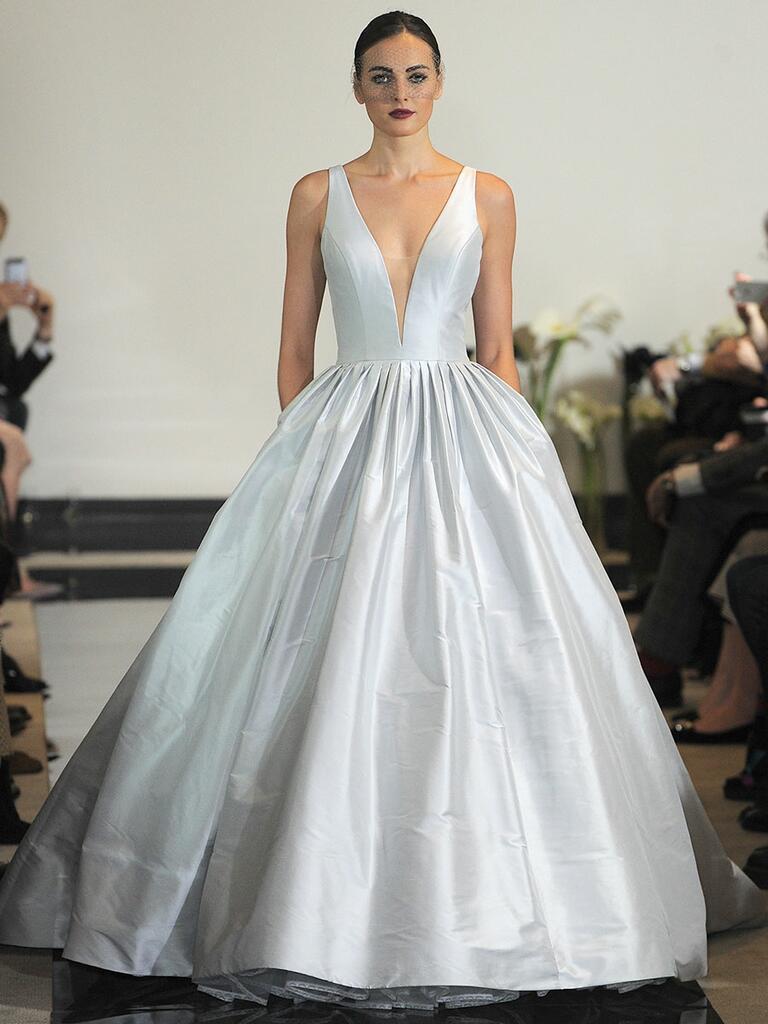 Justin Alexander Spring 2018 silk dupion ball gown with plunging illusion neckline