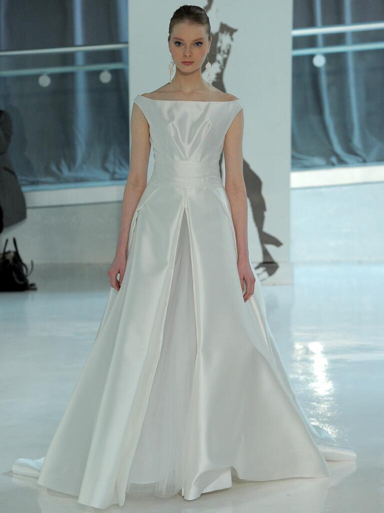 Peter Langner Spring 2018 A-line wedding dress with bateau neckline