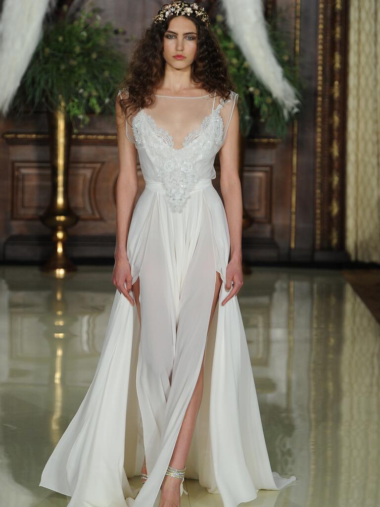 Galia Lahav illusion neckline wedding dress with high leg slits and flowing train from Spring 2016