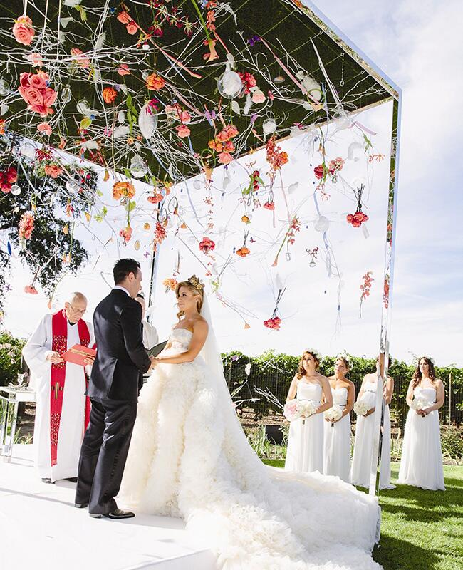 hanging ceremony flowers |<img class=