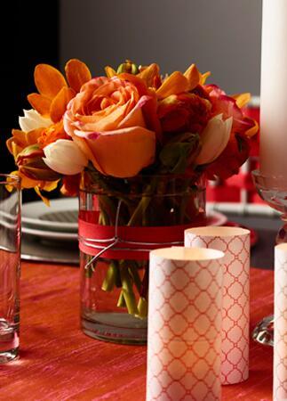 Small orange rose flower arrangements | David Prince | blog.theknot.com