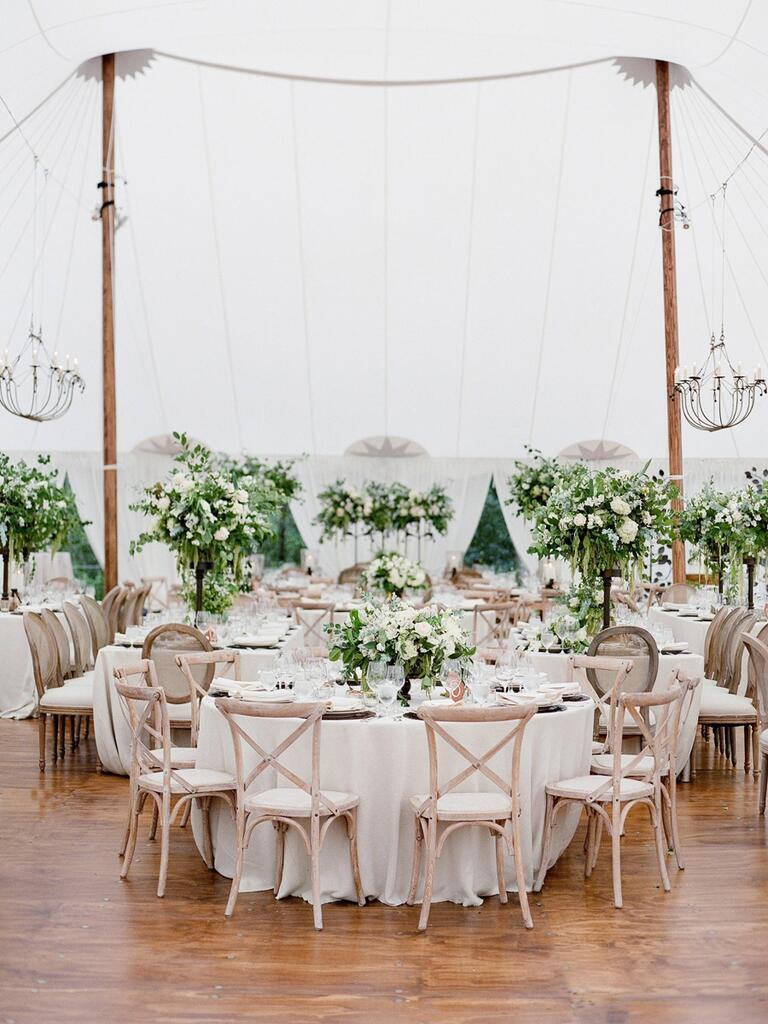 White reception with a lot of greenery