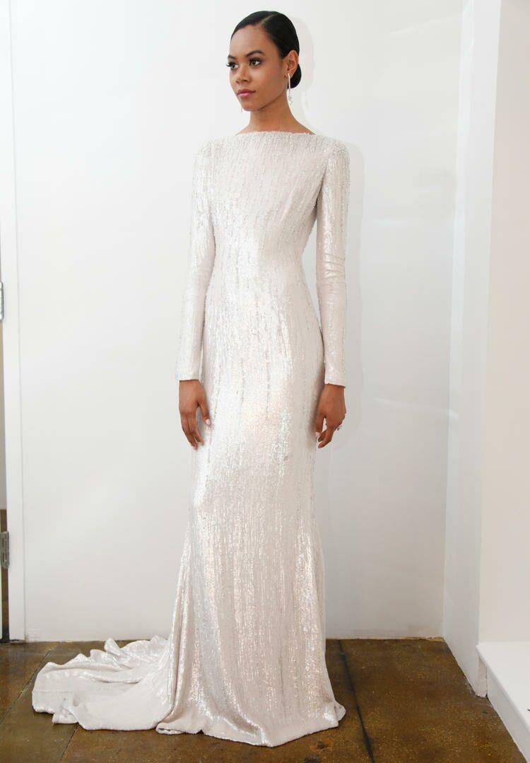 White Sequin Wedding Dress yWFLRIEo