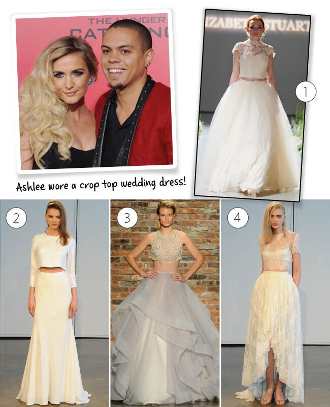 Ashlee Simpson Evan Ross Wedding Dress Crop Top
