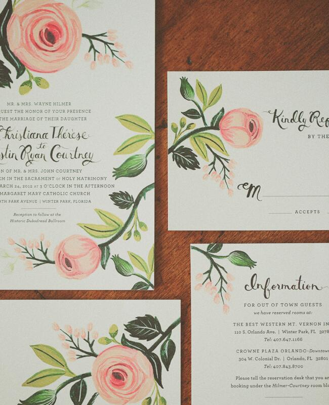 Painted Garden Rose Invitations  <img class=