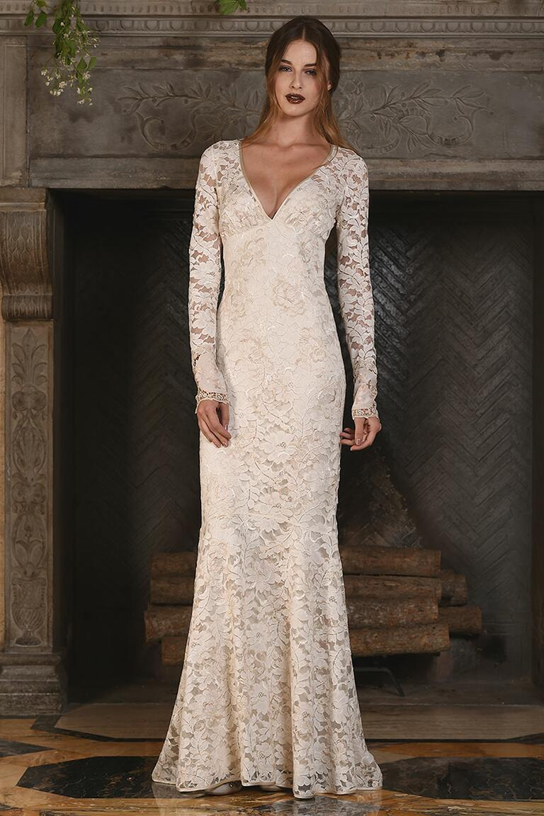 Claire Pettibone off-white fit and flare lace wedding dress for Fall 2017