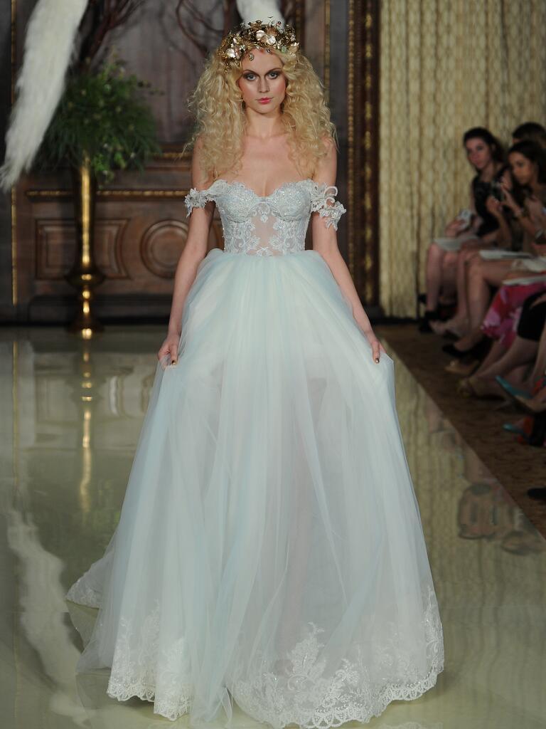 Galia Lahav cloud blue sheer corset with sheer tulle skirt wedding dress from Spring 2016