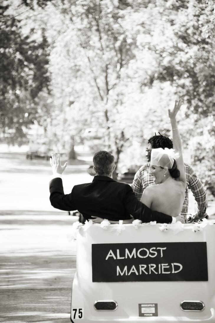 Pedicab wedding exit