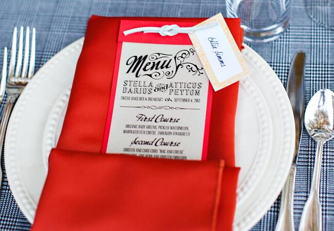 Red and black menu card | Kelly Lane Photography | blog.theknot.com