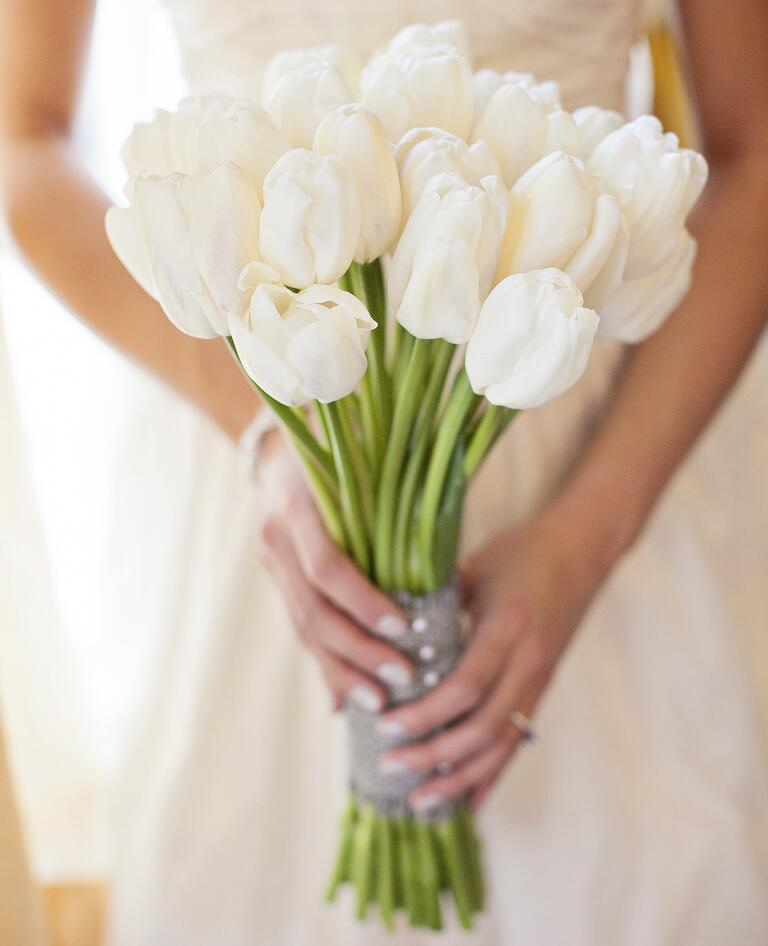 White tulip bridal bouquet