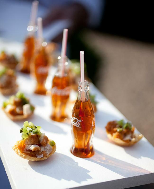 Fried Chicken Bites with Mini Rum and Cokes wedding cocktail and appetizer