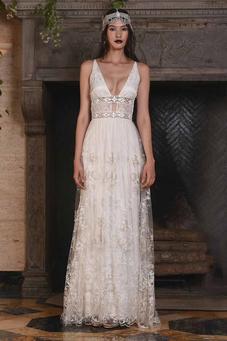 Claire Pettibone wedding dress with plunging neckline for Fall 2017