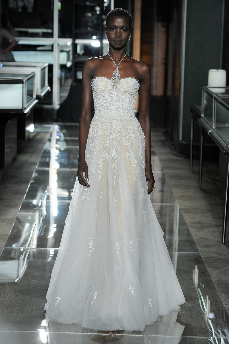Reem Acra Spring 2018 two-tone strapless wedding dress with appliques