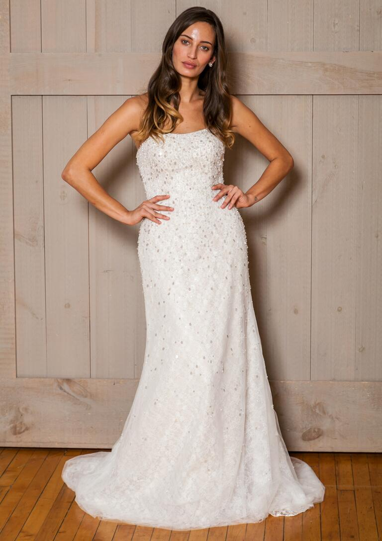 David's Bridal Fall 2016 strapless sheath wedding dress with beading