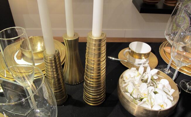 Donna Karan NY gold candlesticks