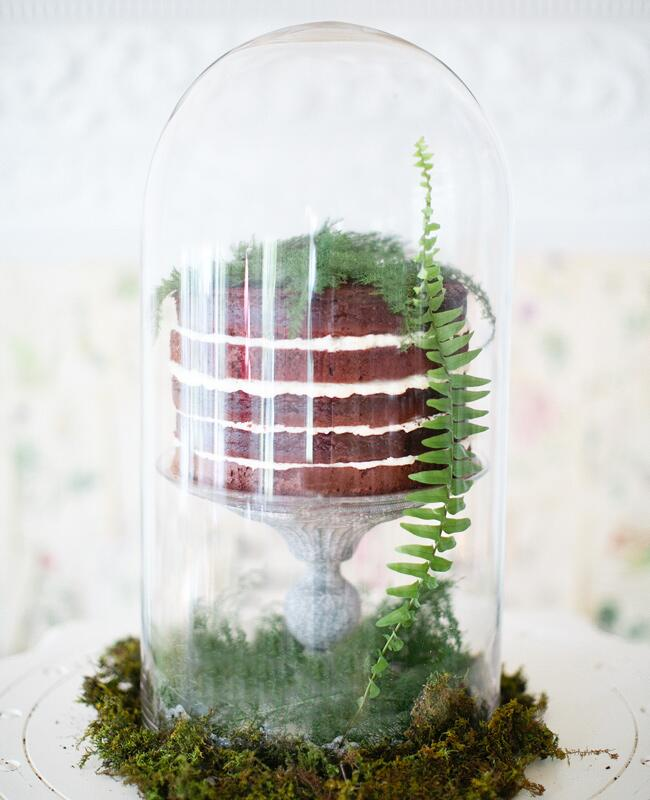 Fern Accented Wedding Cake