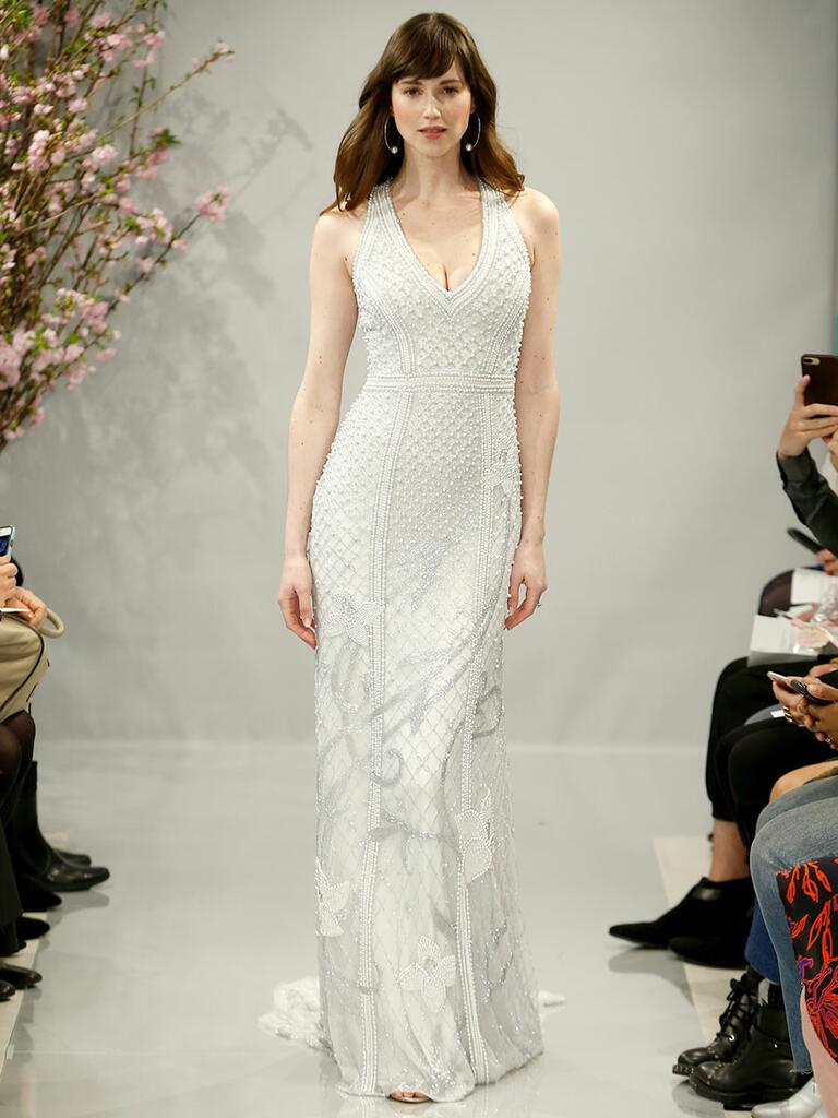 Theia Spring 2018 smoke grey crystal and pearl hand embroidered V-neck gown