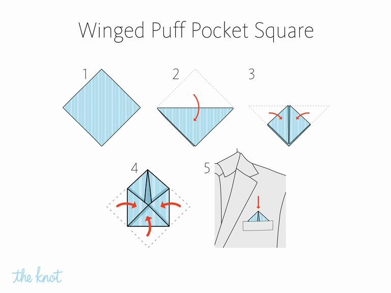 The Knot - How to fold a winged puff pocket square