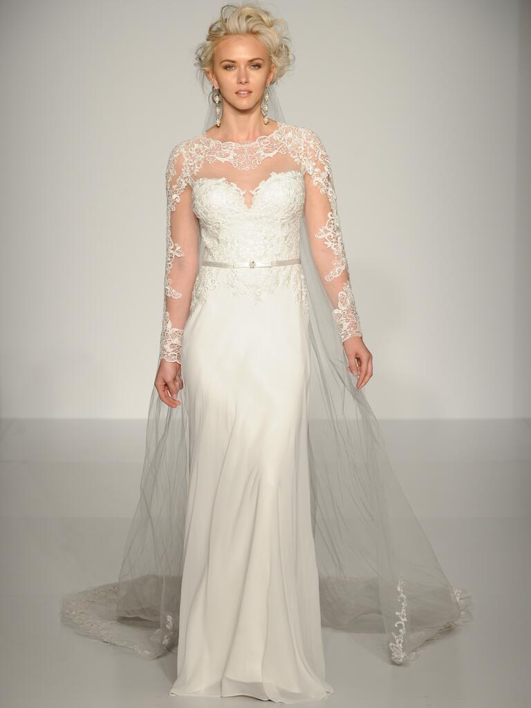 maggie sottero wedding dresses bridal fashion week fall wedding dress cape Maggie Sottero column wedding dress with tulle cape and long sleeves