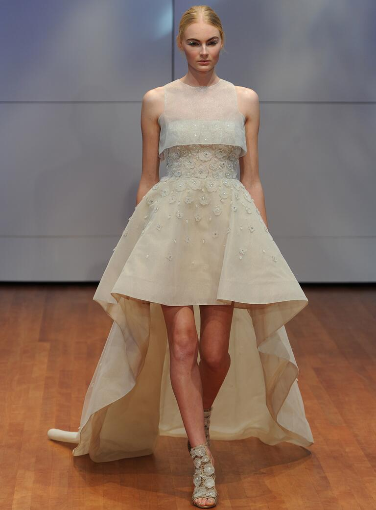 whitney port wedding dress high low wedding dresses Rivini metallic organza hi low ball gown from Fall