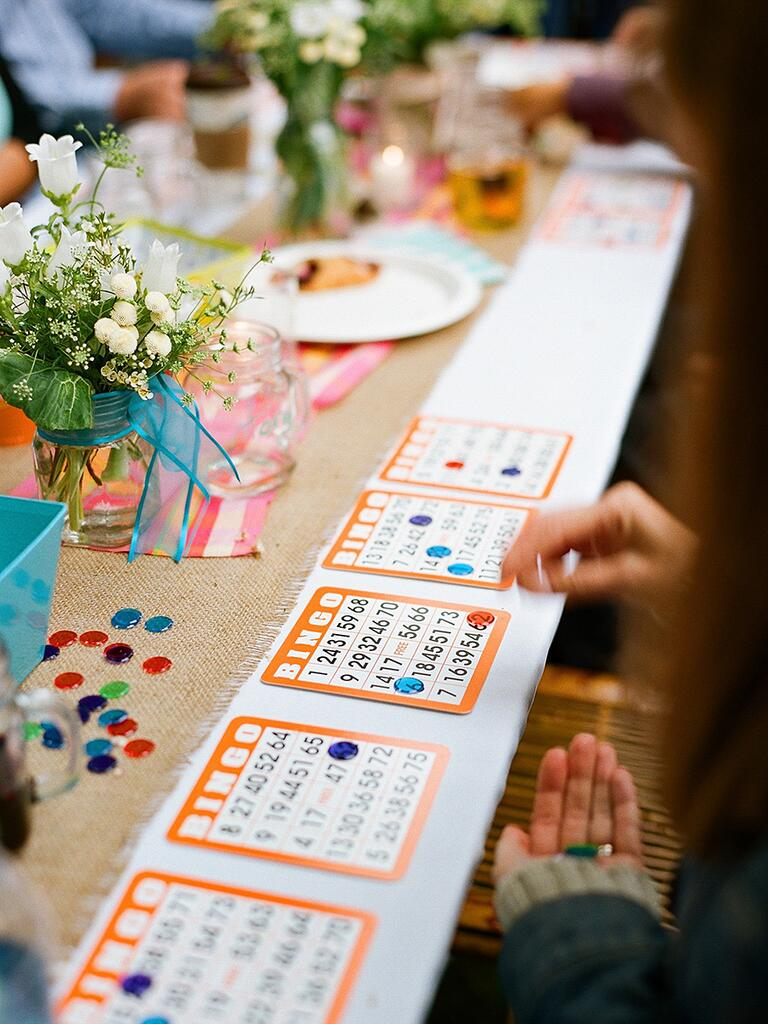 Bingo game game idea for cocktail hour tables