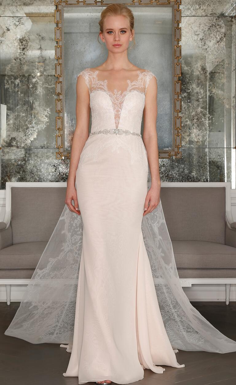 Lace cap sleeve plunging neckline wedding dress from Romona Keveza's Spring 2017 collection