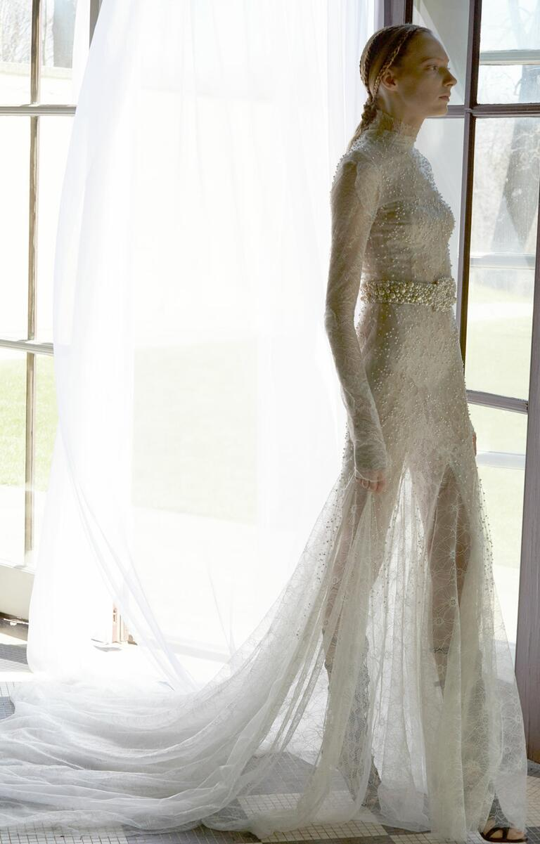 White by Vera Wang Spring 2017 long sleeve pearl embellished sheat wedding dress with train
