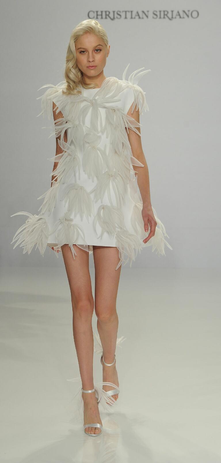 Christian Siriano Spring 2017 appliqué mini wedding dress