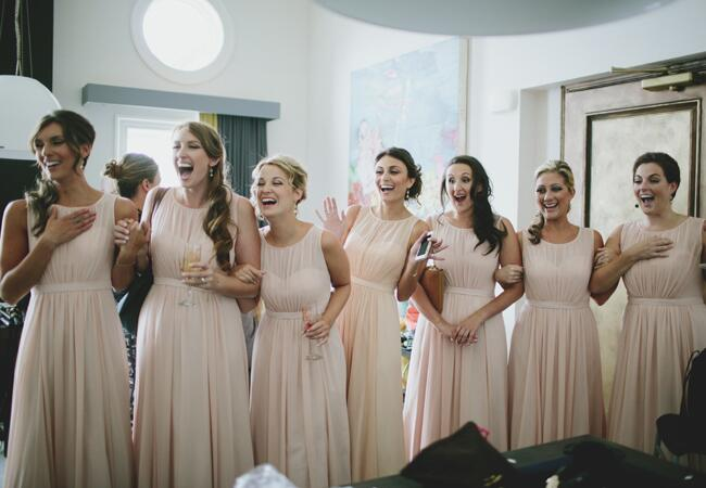 bridesmaids first look | Lime Green Photography | blog.theknot.com