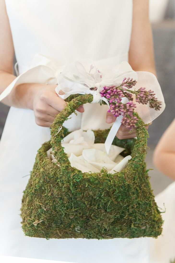 Flower Girl Basket Moss : Moss flower girl baskets