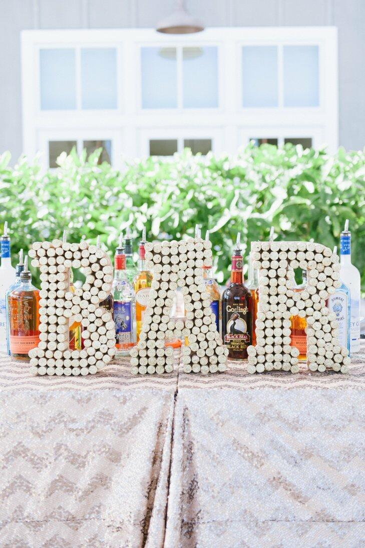 Wine cork wedding bar sign