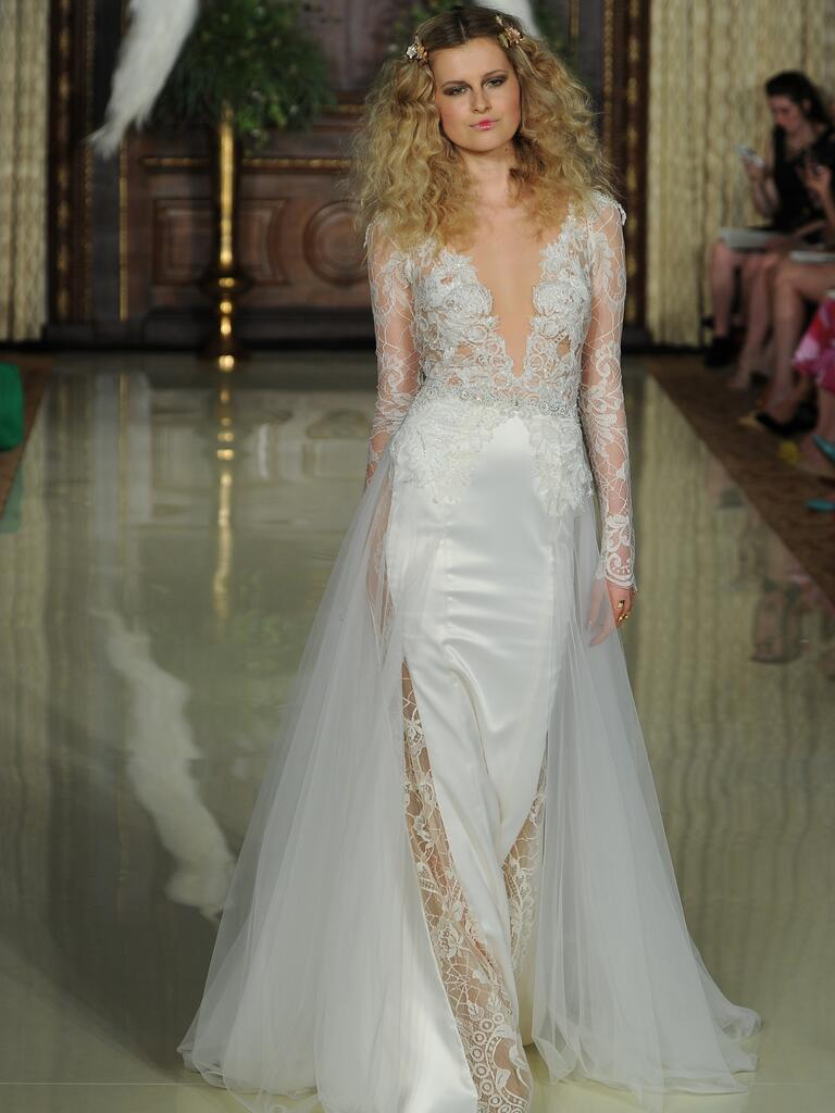 Galia Lahav bohemian wedding dress with mid-length lace sleeves and high leg slits from Spring 2016