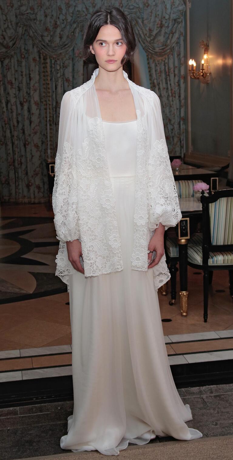 Delphine Manivet Spring 2017 slip column wedding dress with floral lace embroidered sheer jacket
