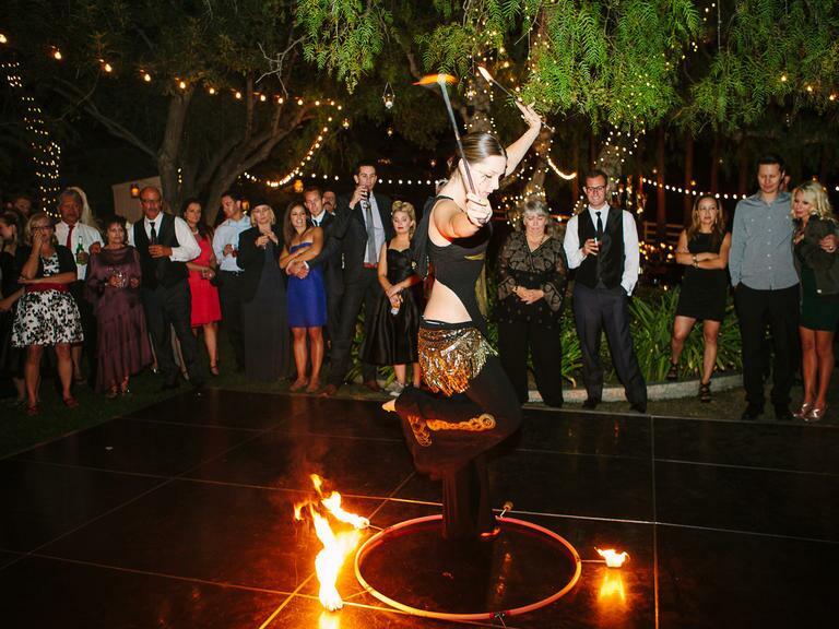 Fire dancer at wedding reception