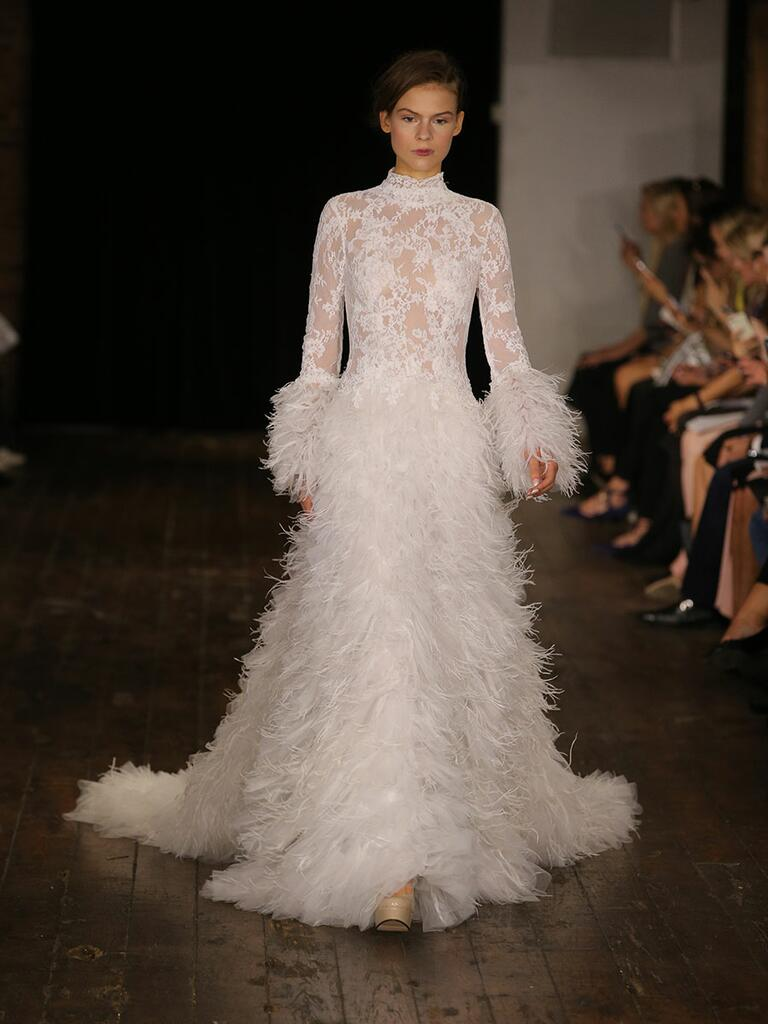 wedding dresses with feathers skirts feathered wedding dress Rivini Fall Collection Bridal Fashion Week Pos
