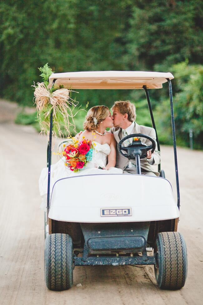 "Bride and groom golf cart ""just married"" sendoff"