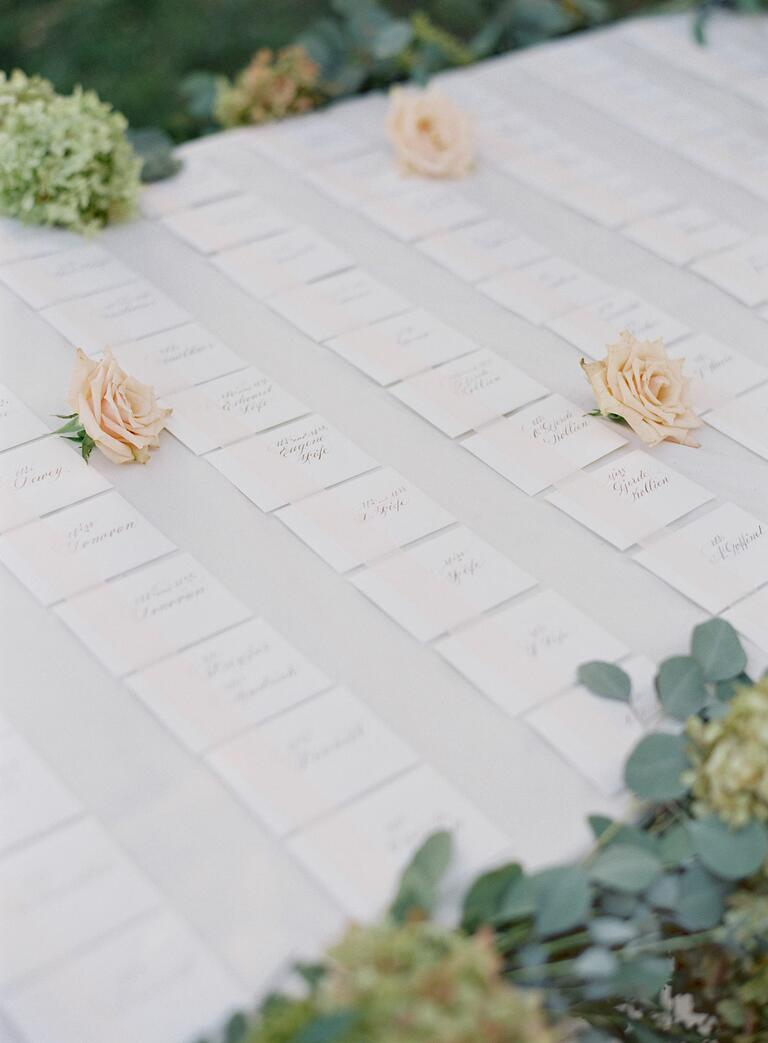 Romantic formal escort cards
