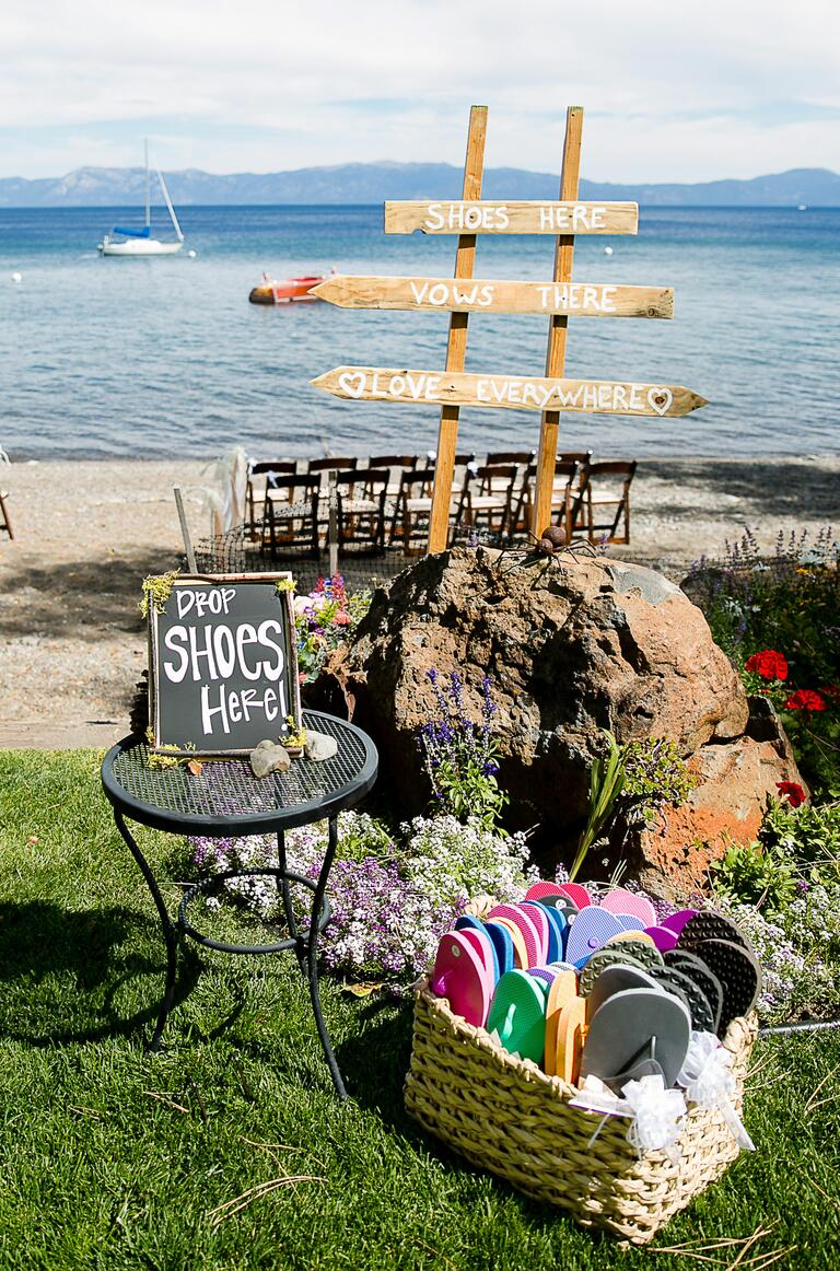 Wedding guest flip flops