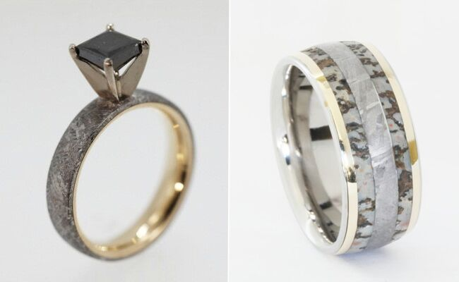 wedding rings made of dinosaur bone meteorite and deer antler - Meteorite Wedding Ring