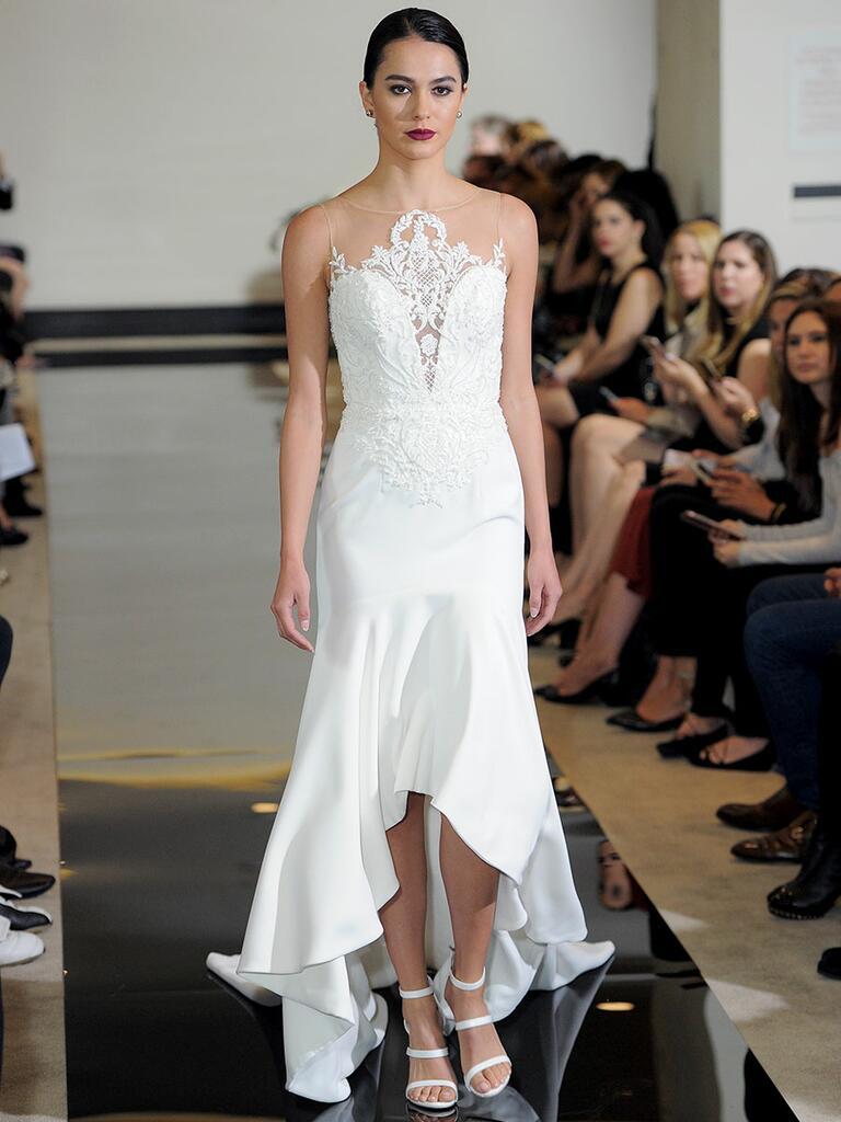 Justin Alexander Spring 2018 crepe high-low wedding dress with tonal beading