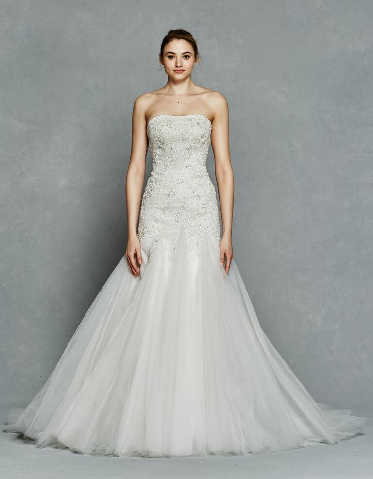 Kelly Faetanini Spring 2017 strapless embellished wedding dress with tulle skirt